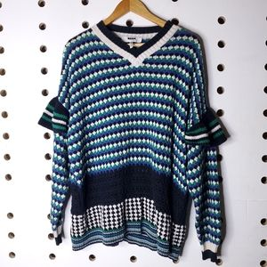MSGM Knit V Neck Frill Sleeve Sweater